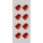 Little B - Decorative 3 Dimensional Stickers - Rhinestone Hearts - Mini