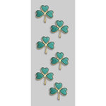 Little B - Decorative 3 Dimensional Stickers - Green and Gold Shamrock - Mini