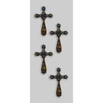 Little B - Decorative 3 Dimensional Stickers - Gold Crosses - Mini