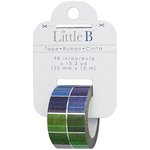 Little B - Decorative Paper Tape - Silver Foil Multi Color Squares - 25mm