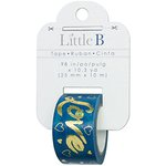 Little B - Decorative Paper Tape - Gold Foil Blue Love - 25mm