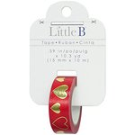Little B - Decorative Paper Tape - Gold Foil Red Hearts - 15mm