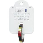 Little B - Decorative Paper Tape - Gold Foil Red and Black Square - 3mm