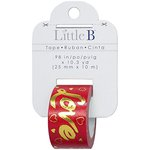 Little B - Decorative Paper Tape - Gold Foil Red Love - 25mm