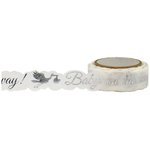 Little B - Decorative Paper Tape - Silver Foil Baby Stork Die Cut - 15mm