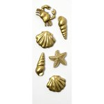 Little B - Decorative 3 Dimensional Stickers - Gold Sealife - Mini