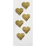 Little B - Decorative 3 Dimensional Stickers - Gold Hearts - Mini