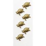 Little B - Decorative 3 Dimensional Stickers - Gold Turtles - Mini