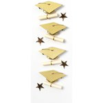 Little B - Decorative 3 Dimensional Stickers - Gold Graduation - Mini