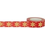 Little B - Christmas - Decorative Paper Tape - Gold Foil Red and White Snowflake - 15mm