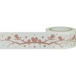 Little B - Decorative Paper Tape - Rose Gold Foil Birds on a Branch - 25mm