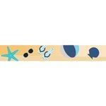 Little B - Decorative Paper Tape - Teal Foil Beach Icons - 15mm