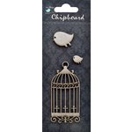 Little Birdie Crafts - Chipboard Pieces - Ornate Cage and Birds