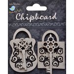Little Birdie Crafts - Chipboard Pieces - Designer Lock and Key
