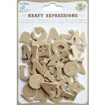 Little Birdie Crafts - Kraft Expressions Collection - 3 Dimensional Stickers - Alphabet - Uppercase - Plain - Small