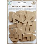 Little Birdie Crafts - Kraft Expressions Collection - 3 Dimensional Stickers - Alphabet - Uppercase - Plain