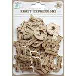 Little Birdie Crafts - Kraft Expressions Collection - 3 Dimensional Stickers - Alphabet - Lowercase - Script