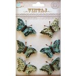 Little Birdie Crafts - Vintaj Collection - Beaded Butterflies - Rustic Teal