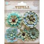 Little Birdie Crafts - Vintaj Collection - Donatella Flowers - Rustic Teal