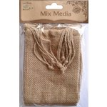 Little Birdie Crafts - Mix Media Collection - Burlap Drawstring Bags - Natural