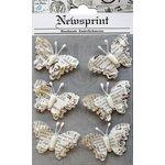 Little Birdie Crafts - Newsprint Collection - Beaded Butterflies
