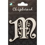 Little Birdie Crafts - Chipboard Pieces - Ornate Alphabet - M