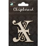 Little Birdie Crafts - Chipboard Pieces - Ornate Alphabet - X