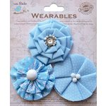 Little Birdie Crafts - Wearables Collection - Printed Fabric Flowers - Ocean Spray