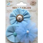 Little Birdie Crafts - Wearables Collection - Frilled Fabric Flowers - Ocean Spray