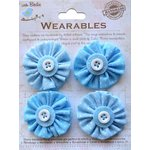 Little Birdie Crafts - Wearables Collection - Pleated Fabric Flowers - Ocean Spray