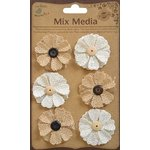 Little Birdie Crafts - Mix Media Collection - Burlap Designer Blooms - Natural