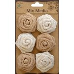 Little Birdie Crafts - Mix Media Collection - Burlap English Roses - Natural and Cream