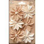 Little Birdie Crafts - Mix Media Collection - Burlap Star Daisies - Natural and Cream