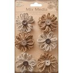 Little Birdie Crafts - Mix Media Collection - Burlap Twine Blooms - Natural