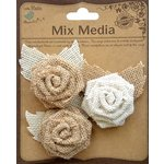 Little Birdie Crafts - Mix Media Collection - Burlap Rose with Petals - Natural and Cream