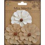 Little Birdie Crafts - Mix Media Collection - Burlap Aspen Flower - Natural and Cream