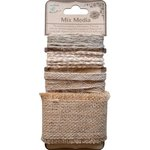 Little Birdie Crafts - Mix Media Collection - Burlap Trims - Natural