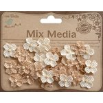Little Birdie Crafts - Mix Media Collection - Burlap Mini Beaded Petites - Natural and Cream