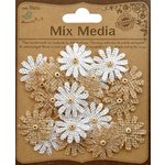 Little Birdie Crafts - Mix Media Collection - Burlap Mini Beaded Daisies - Natural and Cream