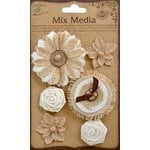 Little Birdie Crafts - Mix Media Collection - Burlap Harmony Flowers - Natural and Cream