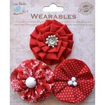 Little Birdie Crafts - Wearables Collection - Printed Fabric Flowers - Cherry Red