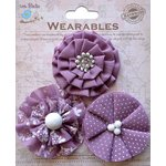 Little Birdie Crafts - Wearables Collection - Printed Fabric Flowers - Grape Crush