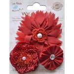 Little Birdie Crafts - Wearables Collection - Boutique Fabric Flowers - Cherry Red