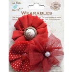Little Birdie Crafts - Wearables Collection - Frilled Fabric Flowers - Cherry Red