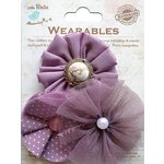 Little Birdie Crafts - Wearables Collection - Frilled Fabric Flowers - Grape Crush