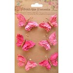 Little Birdie Crafts - Boutique Elements Collection - Beaded Butterflies - Strawberry Fields