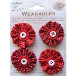 Little Birdie Crafts - Wearables Collection - Pleated Fabric Flowers - Cherry Red