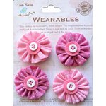Little Birdie Crafts - Wearables Collection - Pleated Fabric Flowers - Carnation Pink