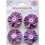 Little Birdie Crafts - Wearables Collection - Pleated Fabric Flowers - Grape Crush