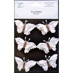 Little Birdie Crafts - Classic Elements Collection - Beaded Butterflies - White